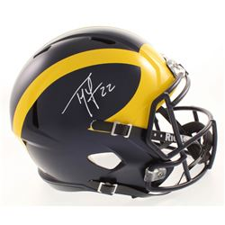 Ty Law Signed Michigan Wolverines Full-Size Speed Helmet (Beckett COA)