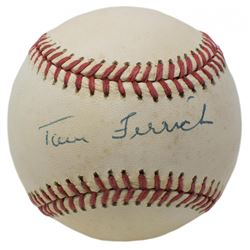Tom Ferrick Signed OAL Baseball (JSA COA)