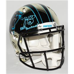 "Luke Kuechly Signed Carolina Panthers Full-Size Authentic On-Field Chrome Speed Helmet Inscribed ""Ke"