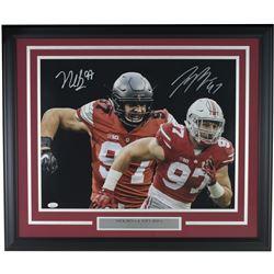 Nick Bosa  Joey Bosa Signed Ohio State Buckeyes 22x29 Custom Framed Photo Display (JSA COA)