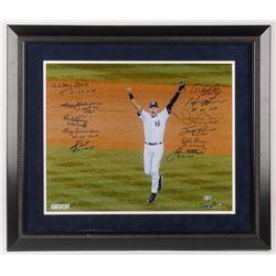 New York Yankees World Series MVP 23.5x27.5 LE Custom Framed Photo Display Signed by (11) with Derek