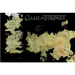 """Isaac Hempstead Wright Signed """"Game of Thrones"""" 24x36 Westeros Map Photo Inscribed """"Bran"""" (Radtke CO"""