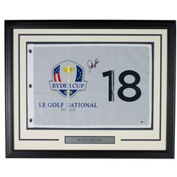 Dustin Johnson Signed 2018 Ryder Cup 21x27 Custom Framed Pin Flag Display (Beckett COA)