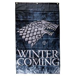 """Isaac Hempstead Wright Signed """"Game Thrones"""" 30x50 Winter is Coming Banner Inscribed """"Bran"""" (Radtke"""