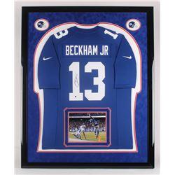 Odell Beckham Jr. Signed New York Giants 42.5x43.5 Custom Framed Jersey Display (Steiner Hologram)