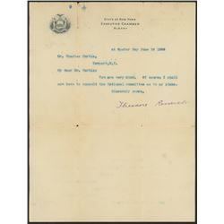 """Theodore Roosevelt Signed 8x10.25 Signed """"State of New York"""" Letter (Beckett LOA)"""