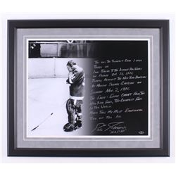 Eddie Giacomin Signed Detroit Red Wings 22.5x26.5 Custom Framed Photo Display with Extensive Inscrip