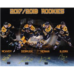 Boston Bruins 2017-2018 Rookies 16x20 Photo Signed By (4) with Charlie McAvoy, Jake DeBrusk, Danton