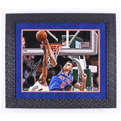 Kristaps Porzingis Signed New York Knicks 24.5x28 Custom Framed Photo Display (Steiner COA)