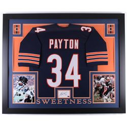 Walter Payton Signed 35x43 Custom Framed Cut Display with Jersey (Payton COA)
