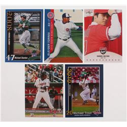 Lot of (25) Baseball Rookie Cards with Mike Trout Rookies, Michael Stanton, Shohei Ohtani, Vladimir