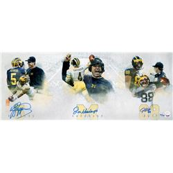 Jabrill Peppers, Jim Harbaugh  Jake Butt Signed LE Michigan Wolverines 12x30 Photo (PSA COA  TSE Hol