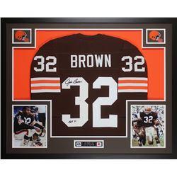 Jim Brown Signed 35x43 Custom Framed Jersey (JSA COA)