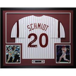 """Mike Schmidt Signed 35x43 Custom Framed Jersey Inscribed """"HOF 95"""" (Fanatics Hologram  MLB Hologram)"""