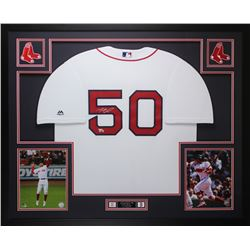 Mookie Betts Signed Boston Red Sox 35x43 Custom Framed Jersey (Fanatics Hologram)