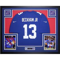 Odell Beckham Jr. Signed New York Giants 35x43 Custom Framed Jersey Display (Steiner COA)