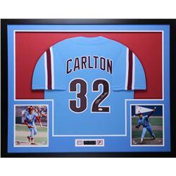 Steve Carlton Signed 35x43 Custom Framed Jersey (JSA COA)