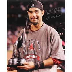 """Mike Lowell Signed Boston Red Sox 16x20 Photo Inscribed """"'07 WS MVP"""" (JSA COA)"""