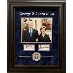 George W. Bush  Laura Bush Signed 19x23 Custom Framed Cut Display (JSA COA)