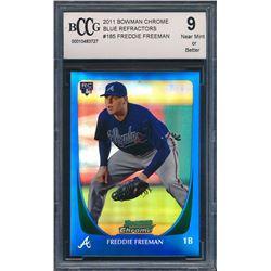 2011 Bowman Chrome Blue Refractors #185 Freddie Freeman (BCCG 9)