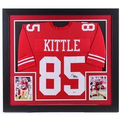 George Kittle Signed 31x35 Custom Framed Jersey Display (Beckett COA)