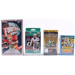 Lot of (4) Card Box Sets with 1991 Upper Deck Football Box, 2013 Upper Deck Notre Dame Fighting Iris