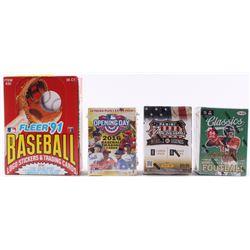 Lot of (4) Card Sets with 1991 Fleer Baseball Box, 2012 Panini Americana Heroes  Legends Blaster Box