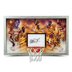 "Magic Johnson Signed LE Los Angeles Lakers ""Champion"" 18.5x30.5 Custom Framed Backboard Display (UDA"