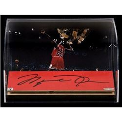 Michael Jordan Signed Chicago Bulls 1998 Game Used Floor Piece With Custom Curved Display (UDA COA)