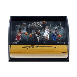 Allen Iverson Signed Philadelphia 76ers Game-Used Floor Piece With Custom Curved Display (UDA COA)