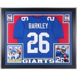 Saquon Barkley Signed 35x43 Custom Framed Jersey (JSA COA)