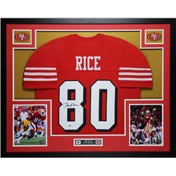 Jerry Rice Signed 35x43 Custom Framed Jersey (Beckett COA)