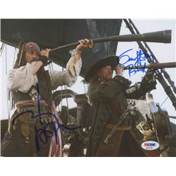 """Johnny Depp  Geoffrey Rush Signed """"Pirates of the Caribbean: At World's End"""" 8x10 Photo (PSA COA)"""