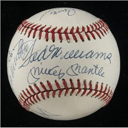 500 Home Run Club ONL Baseball Signed by (11) with Ted Williams, Mickey Mantle, Hank Aaron, Willie M