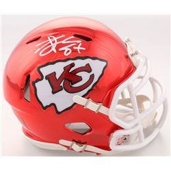 Travis Kelce Signed Kansas City Chiefs Chrome Speed Mini Helmet (Beckett COA)