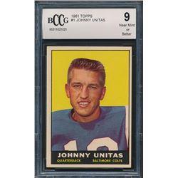 1961 Topps #1 Johnny Unitas (BCCG 9)