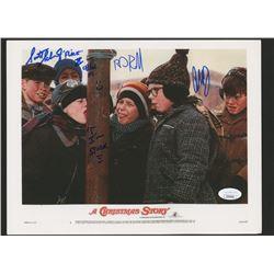"Scott Schwartz, R. D. Robb  Peter Billingsley Signed ""A Christmas Story"" 8x10 Photo Inscribed ""Flick"