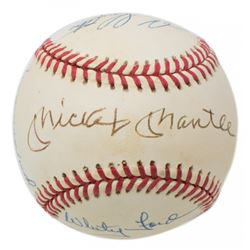New York Yankees Greats OAL Baseball Signed by (7) with Mickey Mantle, Enos Slaughter, Whitey Ford,