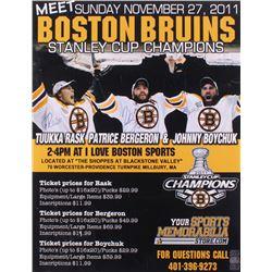 Tuukka Rask, Patrice Bergeron  Johnny Boychuk Signed Boston Bruins 20x26 Poster Board (YSMS COA)