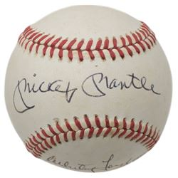 Mickey Mantle  Whitey Ford Signed ONL Baseball (Beckett LOA)