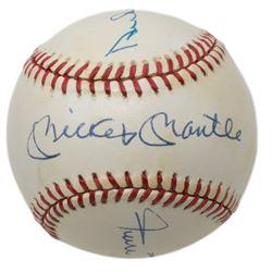 Mickey Mantle, Duke Snider  Willie Mays Signed OAL Baseball (PSA Hologram)