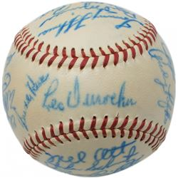 1948 NL All-Star ONL Baseball Team-Signed by (22) with Leo Durocher, Mel Ott, Johnny Mize, Pee Wee R
