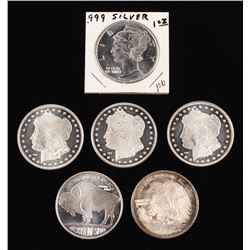 Lot of (6) One Ounce Silver Coins with (3) Morgan Silver Dollar COPY Coin, 2012 American Buffalo Coi