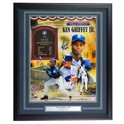 Ken Griffey Jr. Signed Seattle Mariners 22x27 Custom Framed Photo Display Inscribed  HOF 16  (TriSta