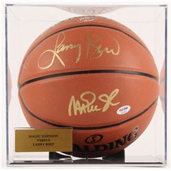 Magic Johnson  Larry Bird Signed NBA Basketball with Display Case (PSA COA)