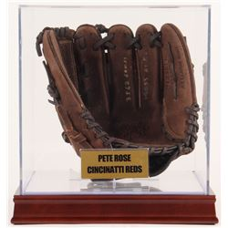 """Pete Rose Signed Rawlings Glove Inscribed """"4256 Hits"""", """"3562 Games"""",  """"14053 At Bats"""" with Display C"""