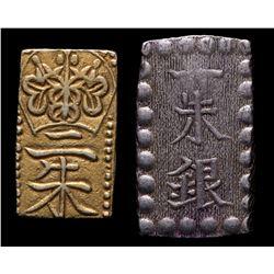 Lot of (2) 1832-1865 Japanese Shogunate Coins with 2 Shu Gold  1 Shu Silver