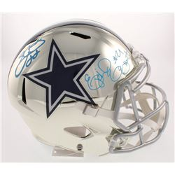 Emmitt Smith  Ezekiel Elliott Signed Dallas Cowboys Full-Size Chrome Speed Helmet (Beckett COA  Prov