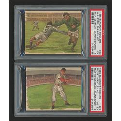 Lot of (2) PSA Graded 1965 Bancroft Tiddlers Giants of Sport with #22 Mickey Mantle Hand Cut (PSA 4)