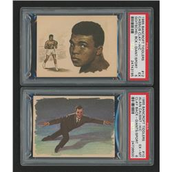 Lot of (2) PSA Graded 1965 Bancroft Tiddlers Giants of Sport #12 Cassius Clay (Muhammad Ali) Hand Cu